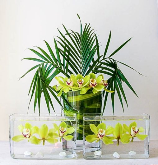 Orchids and palm leaves for office reception, created by Garland north London florist