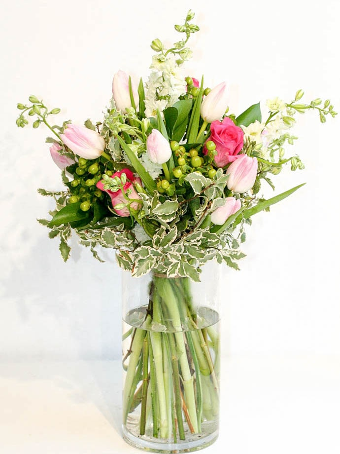 Mixed seasonal bouquet delivered in North London, created by Garland