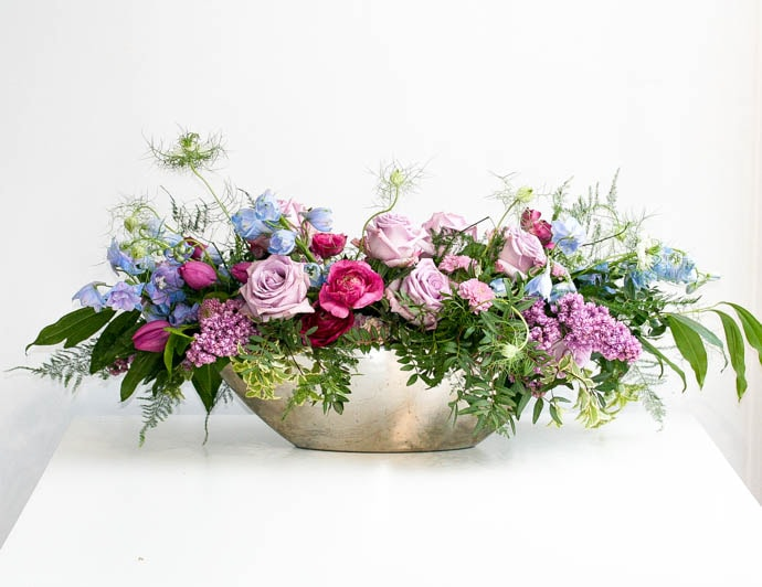 Spring Wedding, long table centrepiece in cool tone palette, designed by North London florist Garland