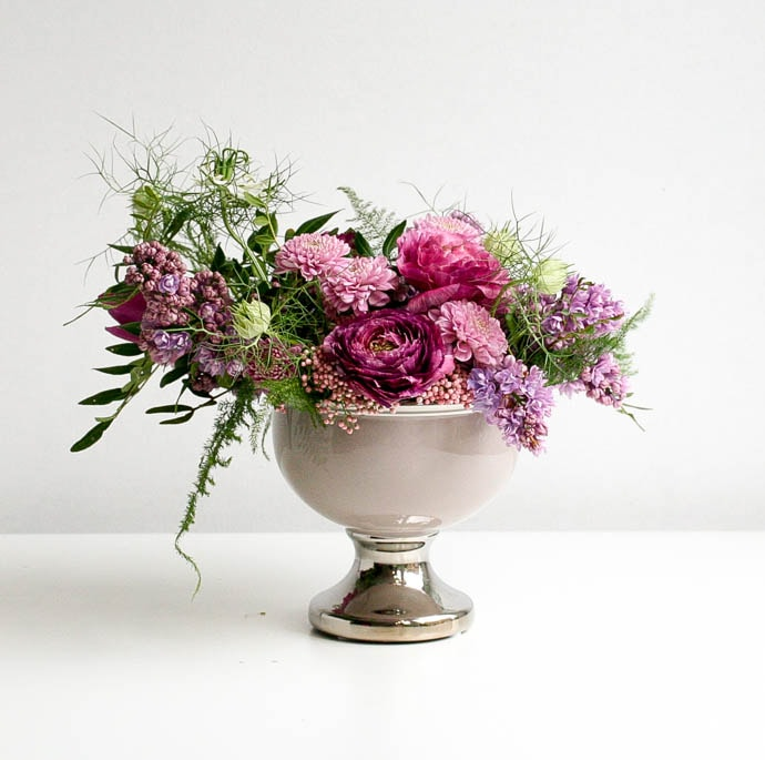 Cocktail or occasional table flowers, designed by North London Florist Garland