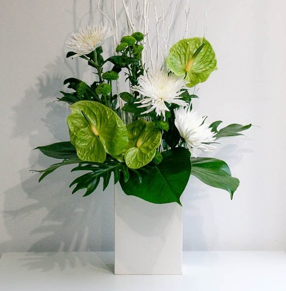 Green and White flowers for office and reception, created by Garland, north London florist