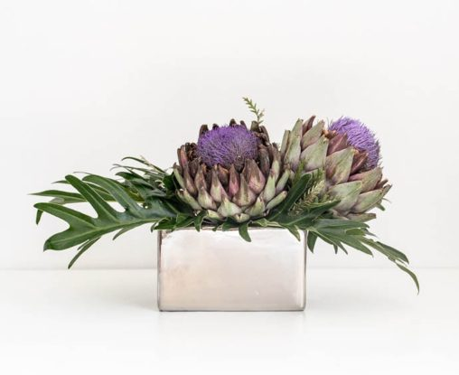 Purple and Silver office reception arrangement
