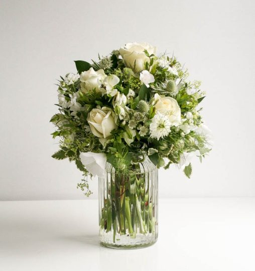 Gorgeous white textured bouquet in a vase