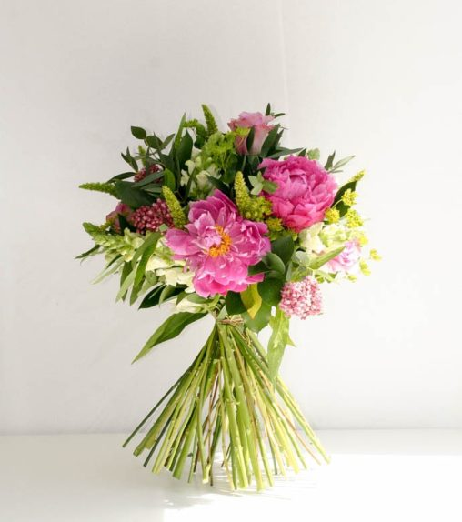 Pink peony bouquet created by Garland, North London florist