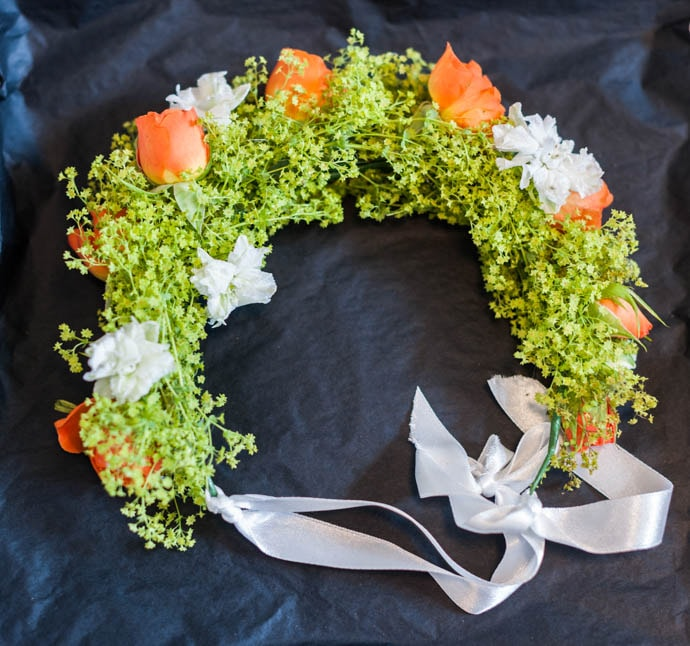 Childs flower crown with alchemical and orange roses