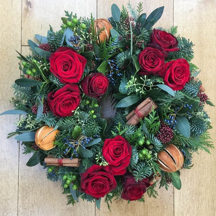 Fresh Flower Christmas Wreath with Red Roses
