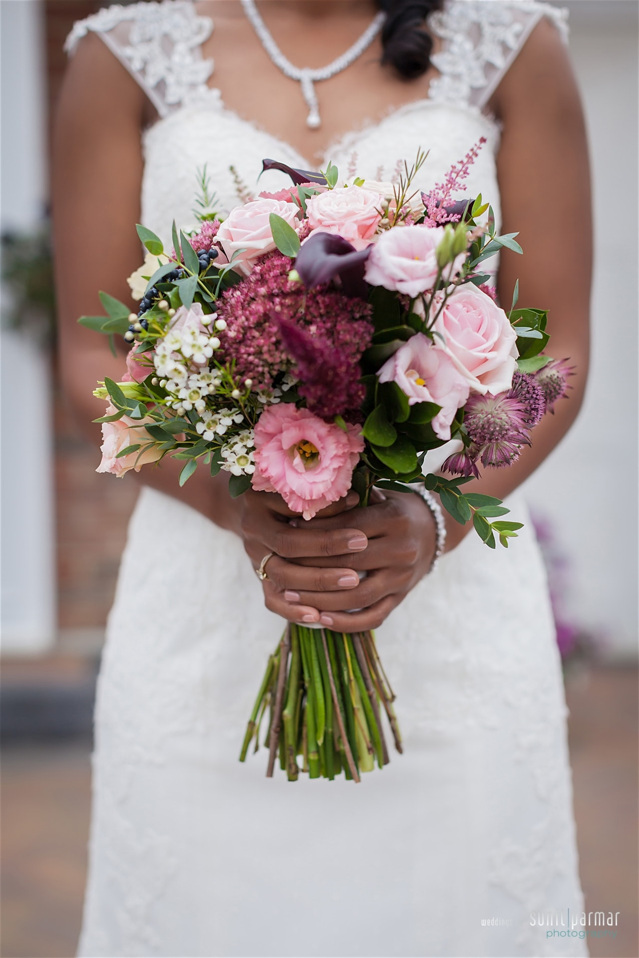 Burgundy and blush wedding bouquet