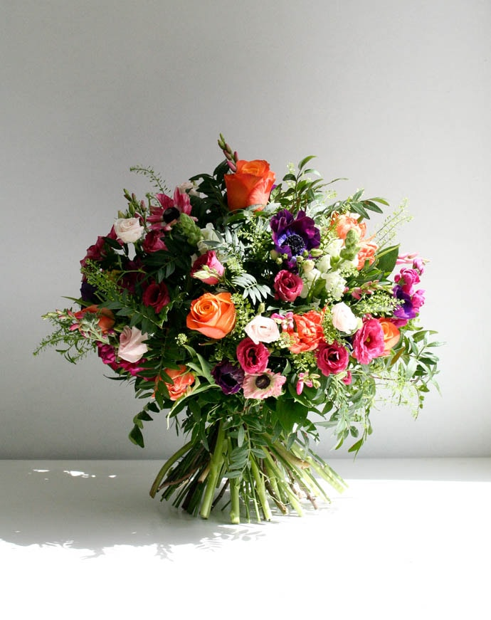 Jewel Toned birthday floral bouquet, created by London Florist Garland