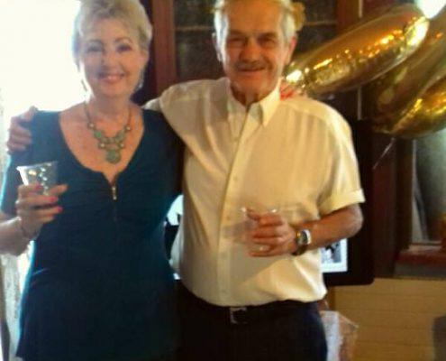 חיים פינקלשטיין ואלומה עבו עברון בחגיגות ה-80