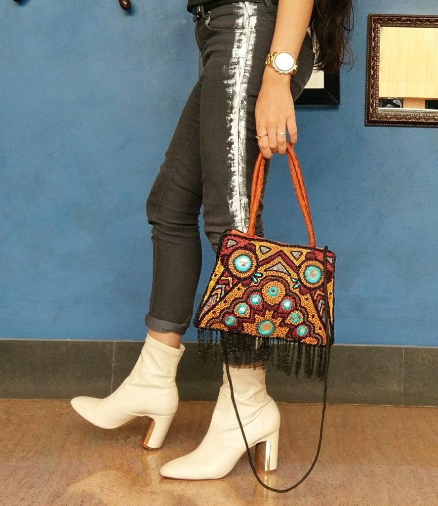 boots, leather boots, vintage bag, mirrored bag, striped denims, michael kors watch, grey skinny pants