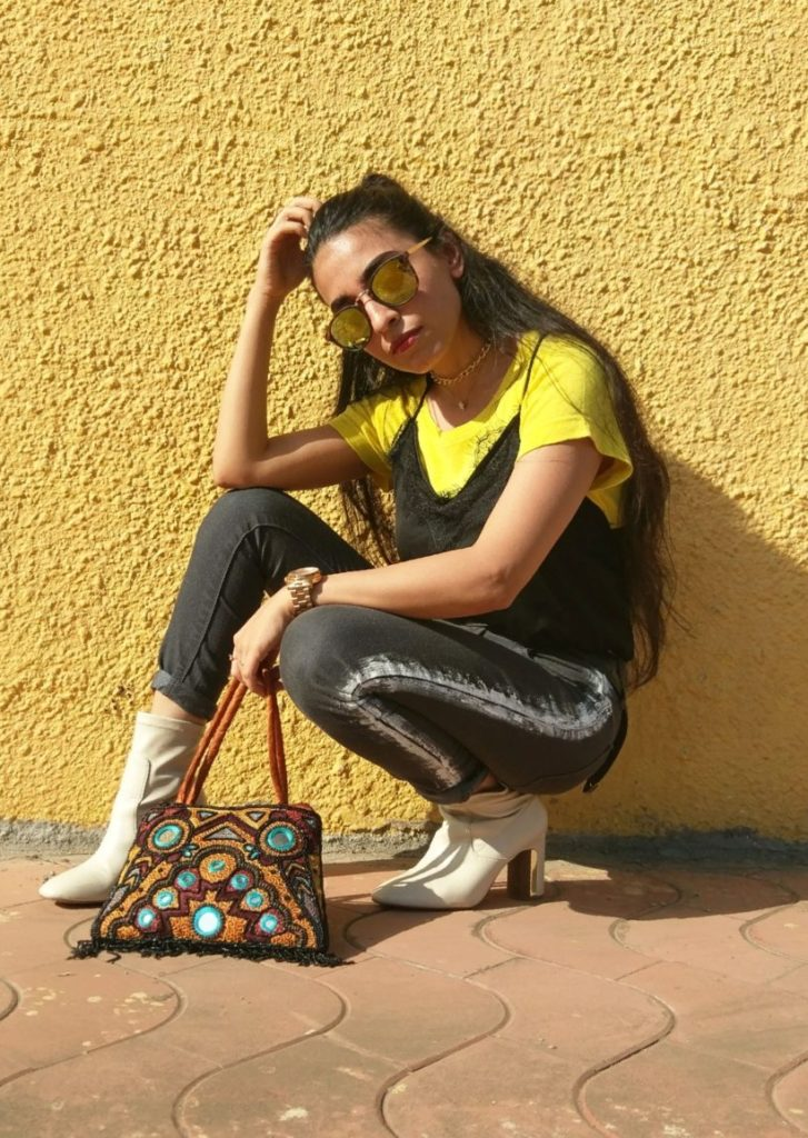 painted denims, striped pants, diy, ootd, reflector shades, pose, editorial