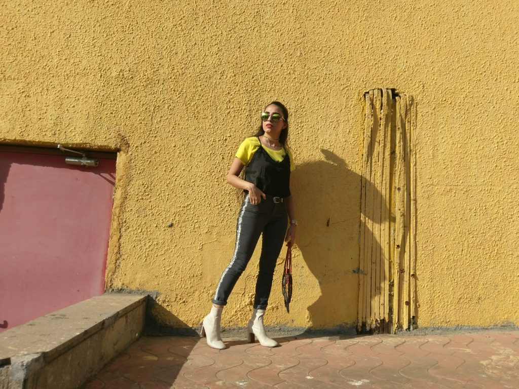 Street style, India, Fashion, striped jeans, black slip, boots