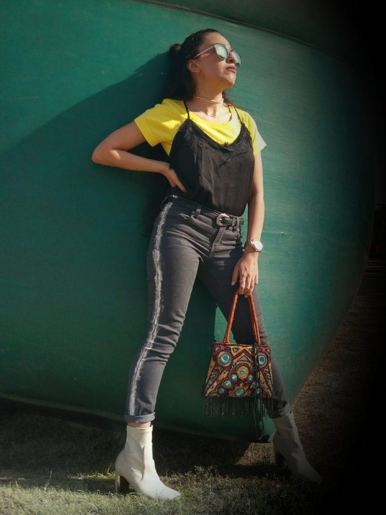 layered slip, painted denim, boots, street style