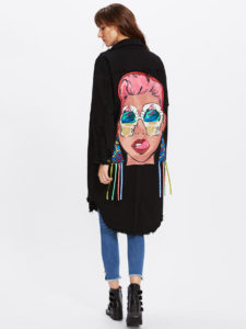 Graffiti Print Ribbons Back Dolphin Hem Coat