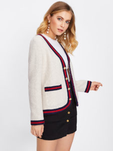 Striped Trim Buttoned Up Textured Tweed Blazer