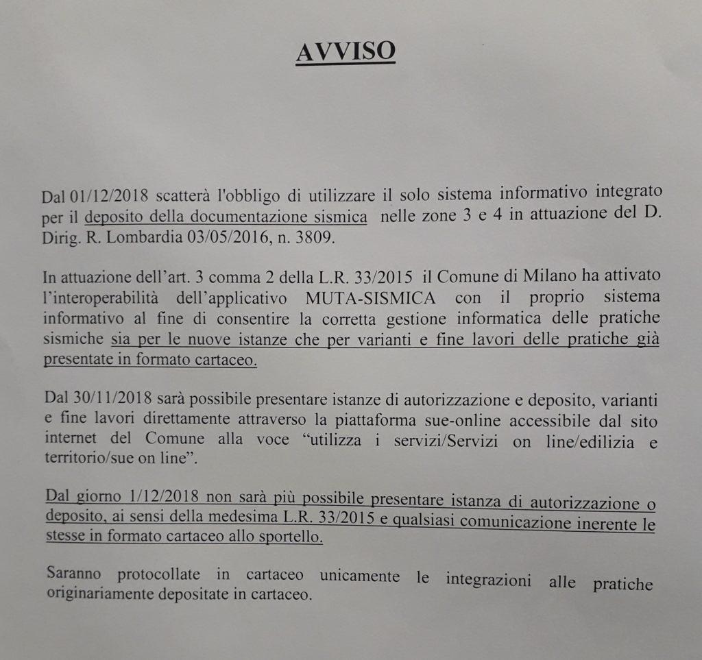 AVVISO SUE MILANO