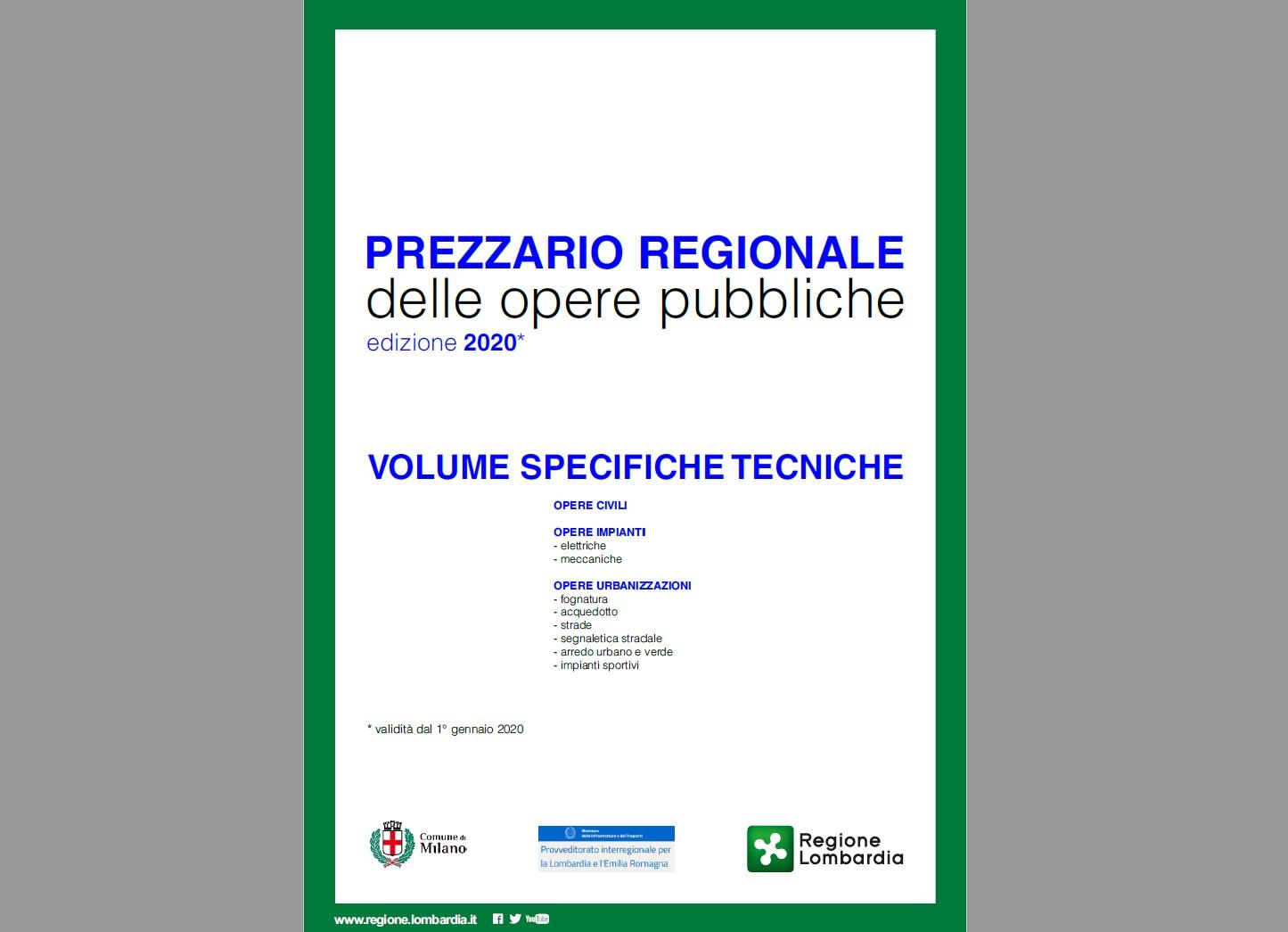 Prezzario delle Opere Pubbliche 2020 - Regione Lombardia e Comune di Milano
