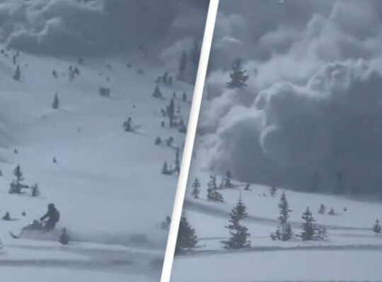 Footage Of Snow mobilisers Trying To Escape Avalanche Circulating On Social Media