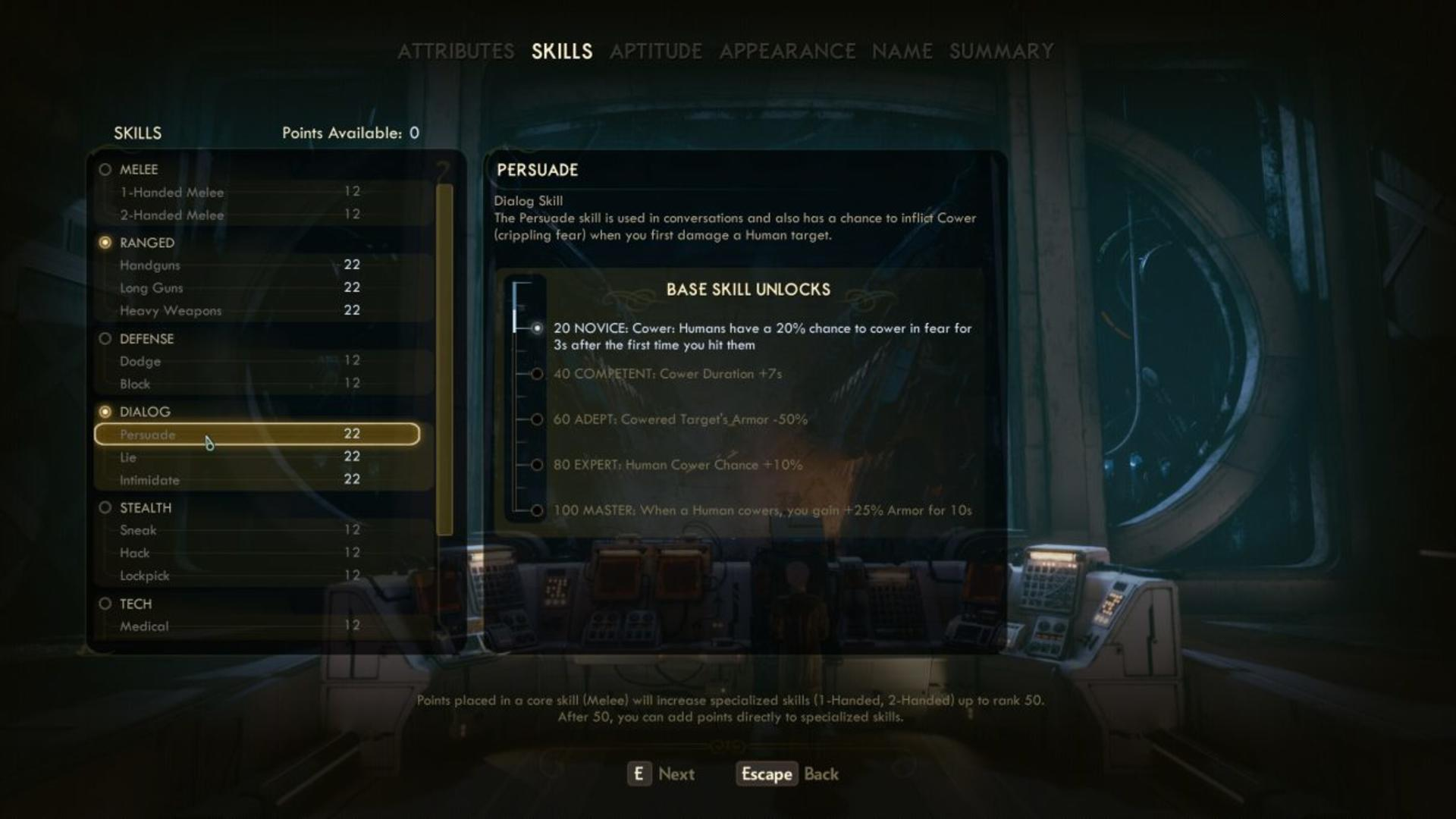 The Outer Worlds skills