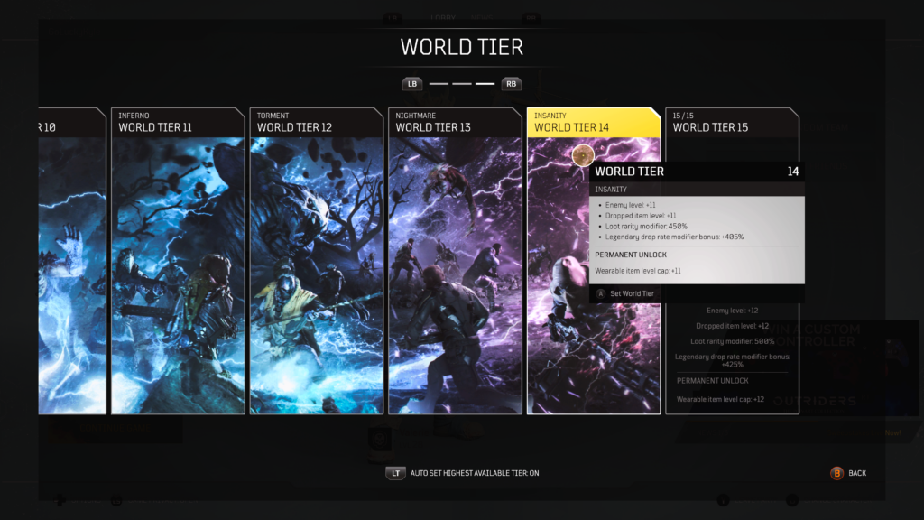 Outriders World Tier list