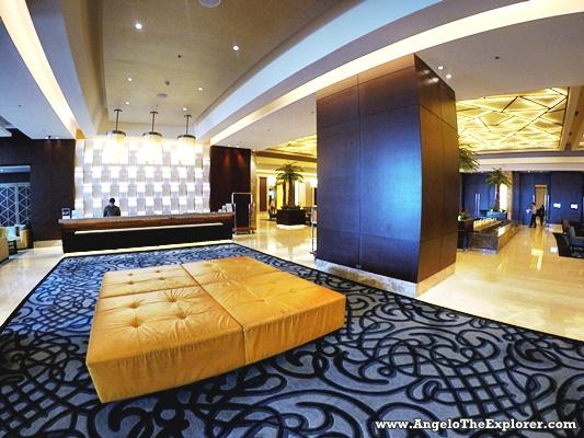 spacious crimson hotel lobby