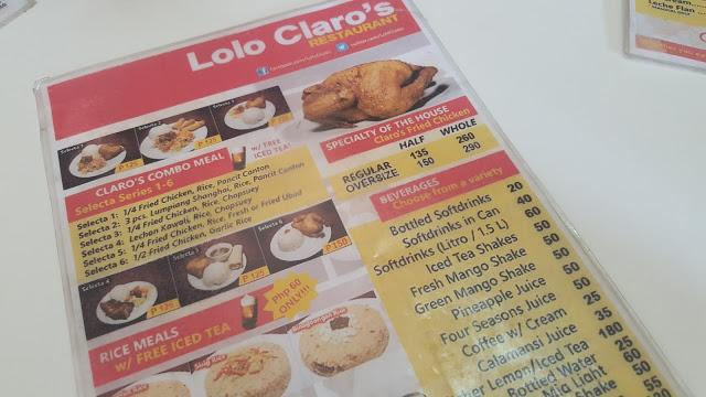 lolo claros restaurant menu