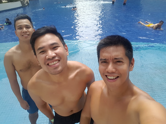 swimming with friends