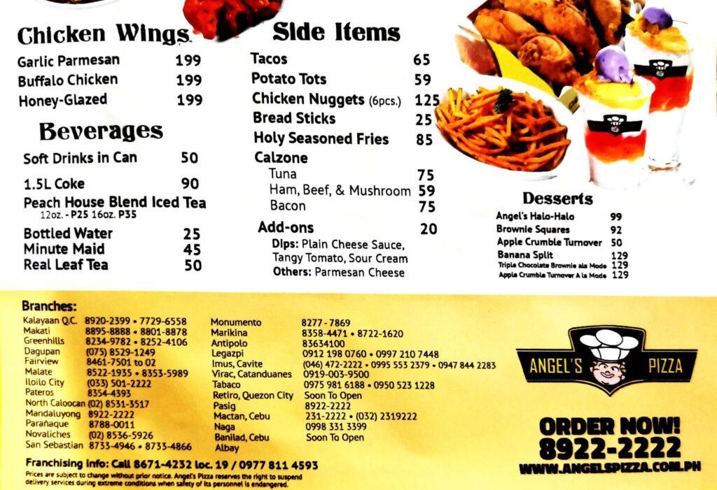 angels pizza menu