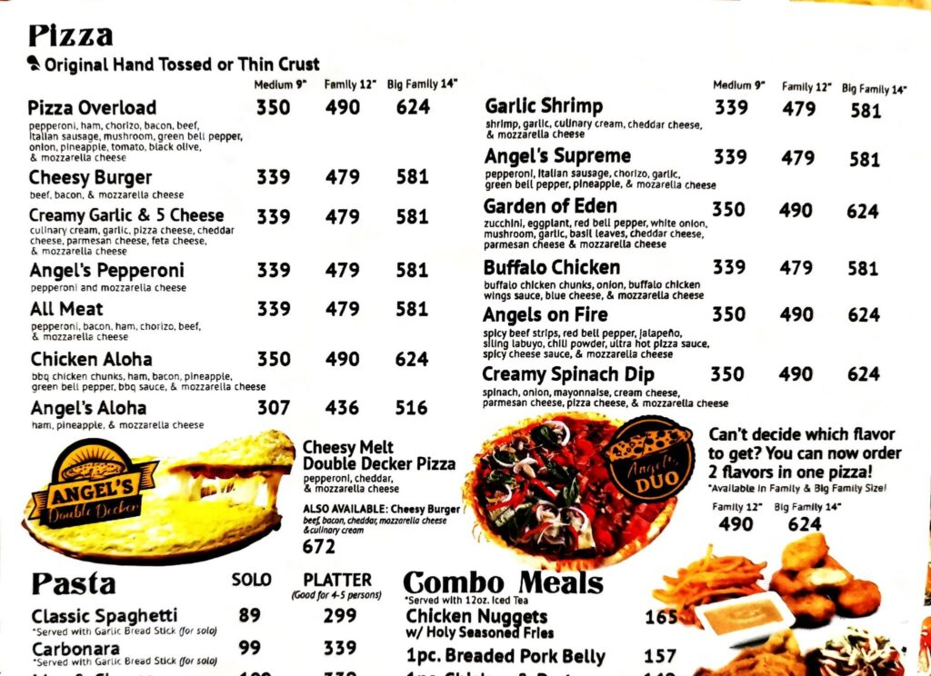angels pizza menu and phone number