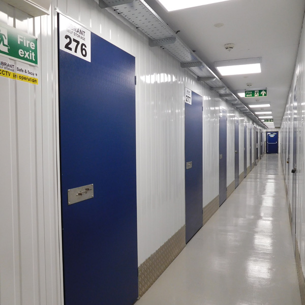 Inside a corridor at Brant Self Store showing the doors of individual units