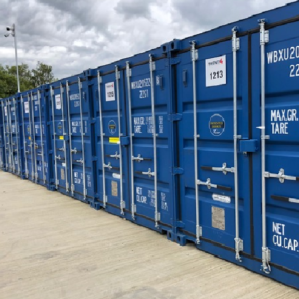 A row of blue Willbox containers at Twenty4 Self Storage co.