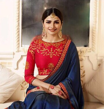 Prachi Desai Style Shahi Saree in Royal Blue with Contrast Blouse in Red Colour