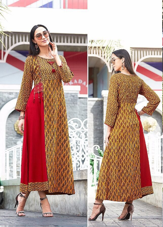 Double Layered Designer Long Kurti in Anarkali Style