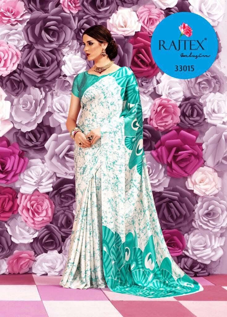 Designer Saree White and Truquoise Colour