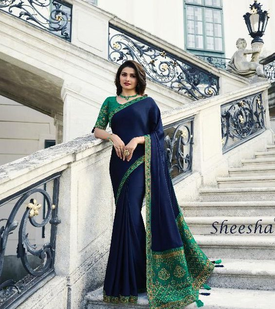Latest Designer Wedding Party Wear Royal Saree Prachi Desai Style