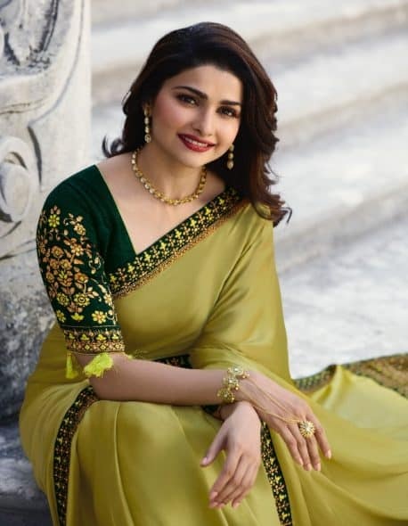678c1b15841fa8 ... Heavy Embroidered Border Sequence Saree in Olive Colour with Contrast  Blouse. lightbox