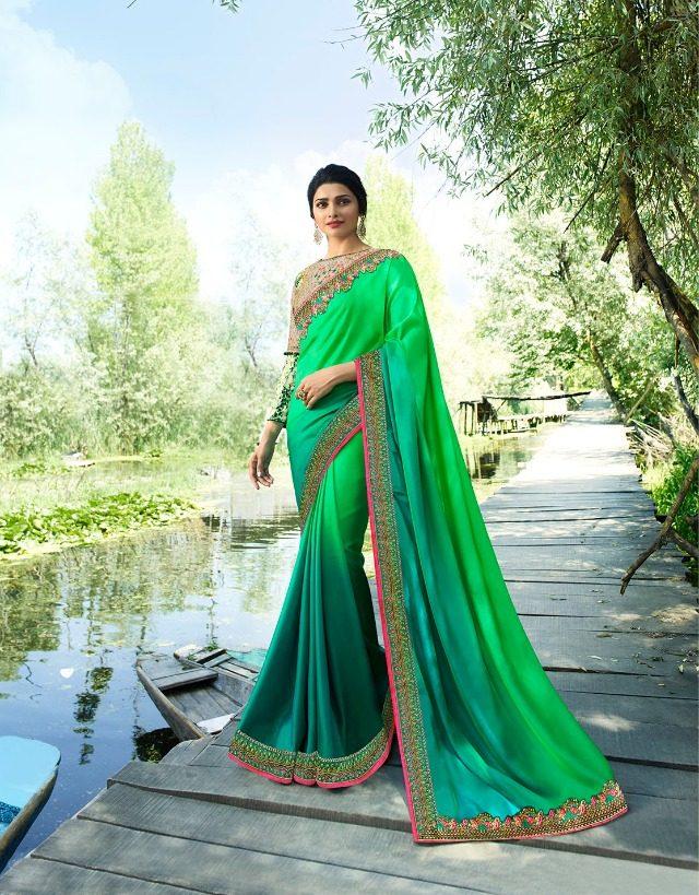 Parrot Colour Heavy Border Prachi Desai Style Saree