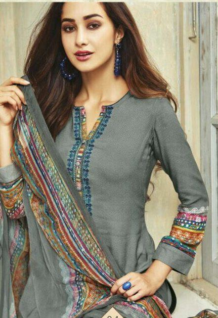 Grey Colour Pure Pashmina Winter Wear Salwar Suits