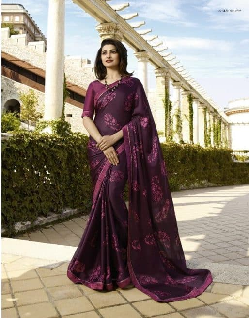 Plum Colour Party Wear Designer Saree in Prachi Desai Style