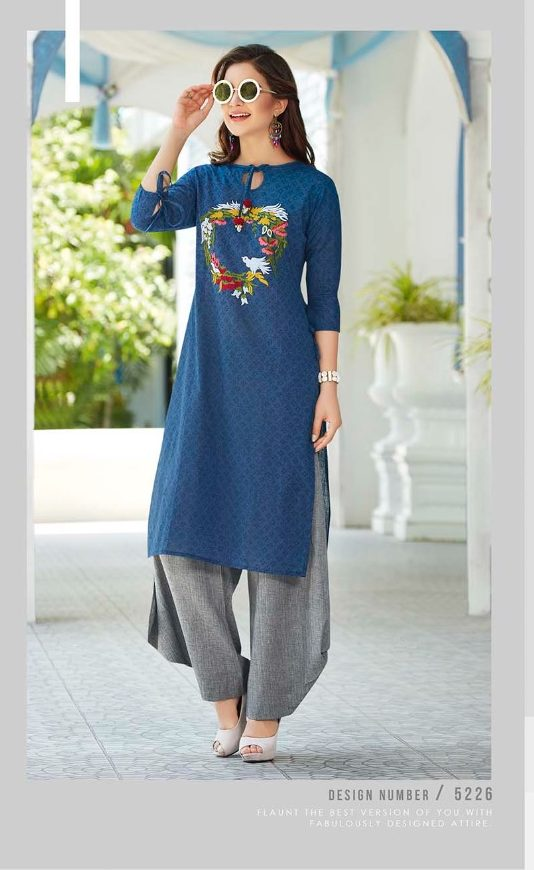 New Style Designer Kurti in Nevi Blue Colour