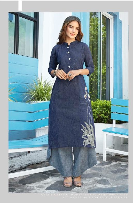 New Style Designer Kurti in Navy Flock Colour