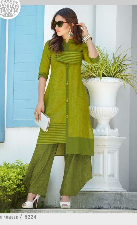 New Style Designer Kurti in Mehndi Colour