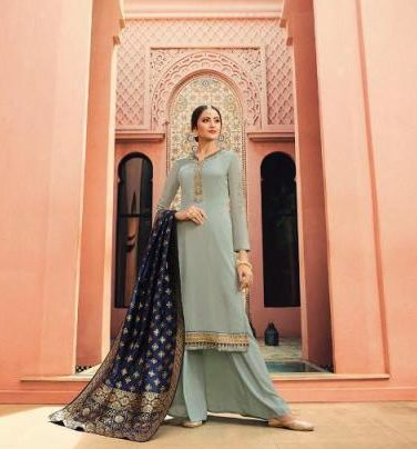 Silver Colour Heavy Embroidered Salwar Suits with Banarsi Dupatta