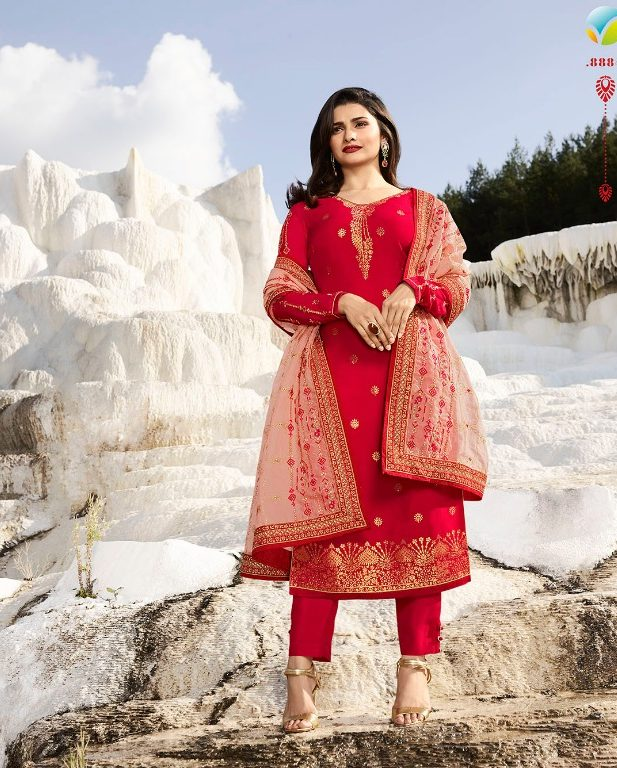 Hot Red Heavy Embroidered Punjabi Salwar Suits with Heavy Dupatta