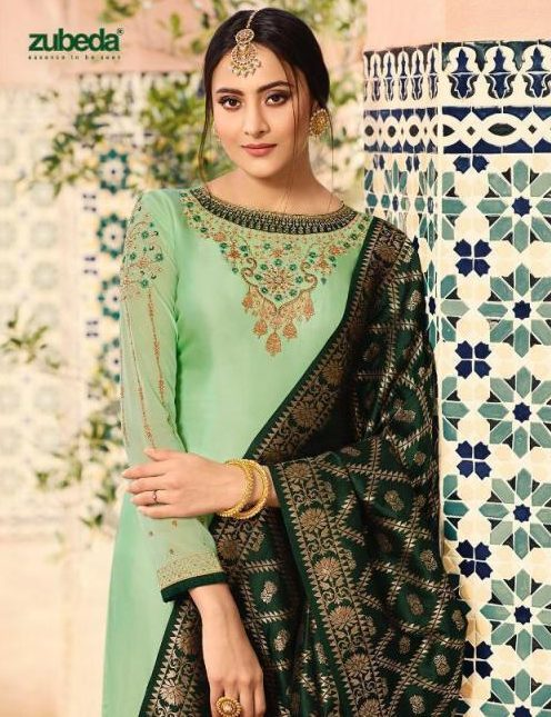 Mint Colour Heavy Embroidered New Fashion Designer Salwar Suits with Banarsi Dupatta