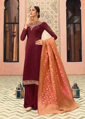 Maroon Colour Heavy Embroidered Salwar Kurta with Banarsi Dupatta