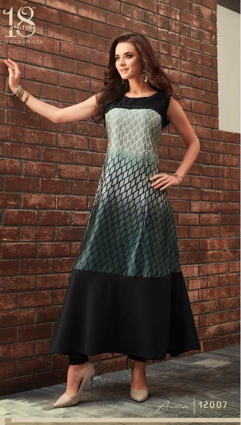 New Attitude Umber with Sage Colour Royal Designer Long Kurti