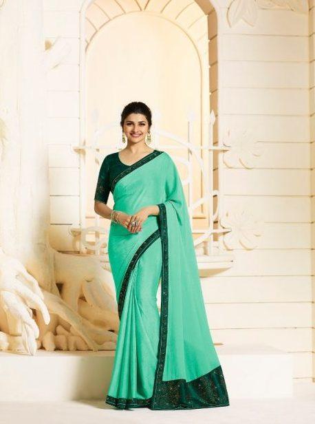 Aqua Colour Prachi Desai Style Saree with Contrast Green Blouse