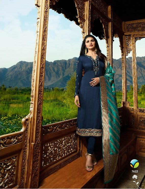 Steelblue Color Heavy Embroidered Salwar Suits with Banarsi Jacquard Dupatta