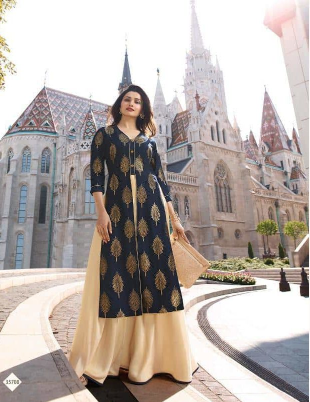 Front Open Dark Slate Blue Colour New Fashion Designer Gown